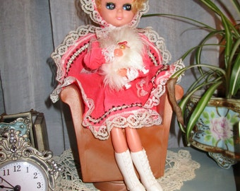 RARE Vintage Pink Doll with Fluffy Poodle Music/Trinket Box, Baby's Room, Winter Decor, Pink