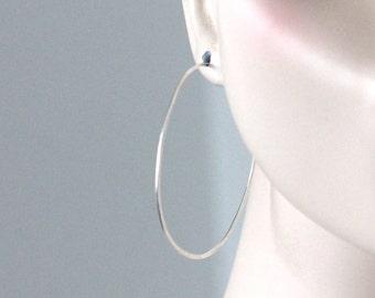 large silver hoop earrings | big sterling silver wire hoops | 14k gold filled hoop earrings | boho earrings | delicate wire hoop earrings