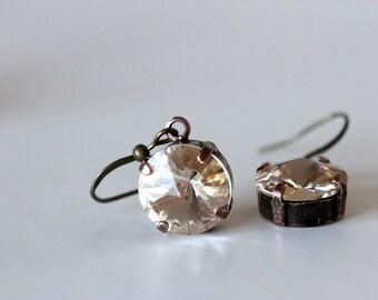 large swarovski crystal dangle earrings | faux diamond | big crystal earrings | olive green earrings | irridescent crystal earrings