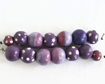 Lavender, Lilac, Mauve African beads, clay beads, Handmade Ceramic Beads,  beads, Artisan Beads, 2 bead strands, 14 beads,  handmade