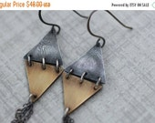 BLACK FRIDAY SALE Reticulated Silver and Brass Triangle Earrings, Double Triangle Earrings, Diamond Earrings, Mixed Metal Earrings