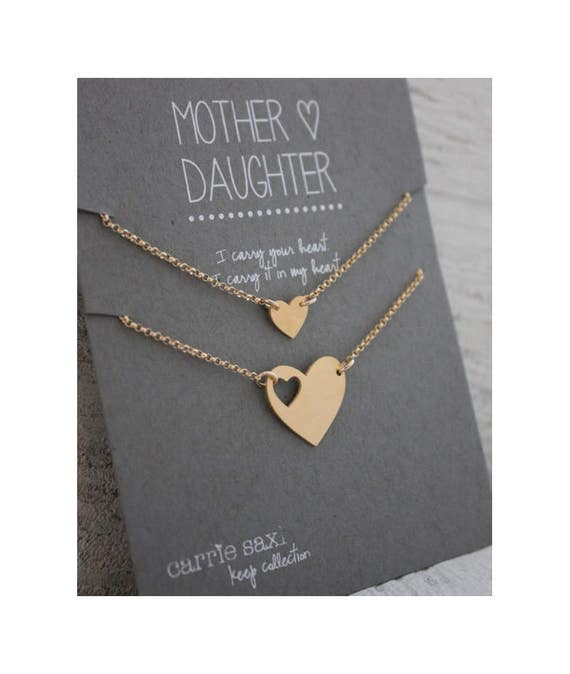 Mother Daughter Bracelet Set - gold hearts - mom bracelet - mother's day gift - mother daughter jewelry - mommy gift - mother bracelet