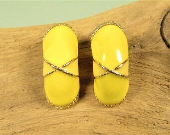 Yellow Hoop Earrings - Vintage Enamel Gold Tone Half Arch