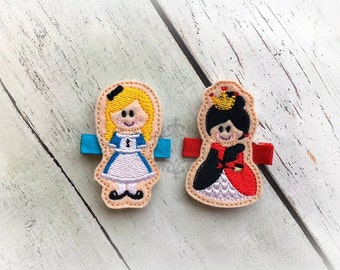 Alice in Wonderland hair clip Alice and Queen of Hearts clip Princess hair clip. Pair