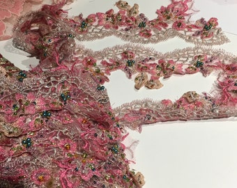 Pink Beaded Lace Trim for Dance, Costume or Couture Garments