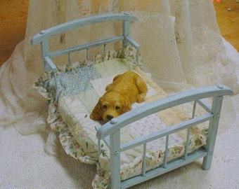 Dog Bed Wood Painted Aqua Vintage Quilt Cushion Shabby Chic
