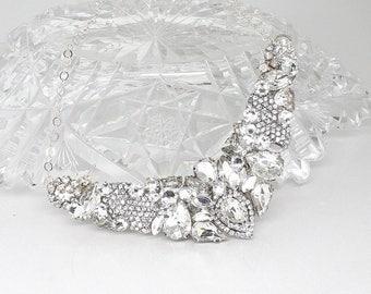 Rhinestone Bridal Necklace- Bridal Statement Necklace- Rhinestone Bridal Bib- Rhinestone Wedding Necklace- Swarovski Necklace- Brass Boheme