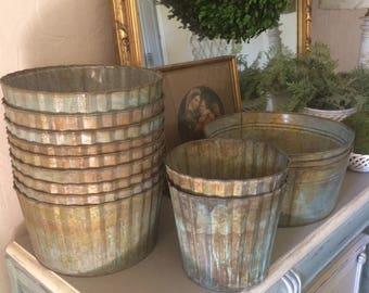 Galvanized Planters Rusty Metal buckets Galvanized Containers Farmhouse Decor Corrugated ZInc Planters