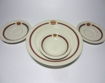 5 Piece Set Vintage San Diego Del Coronado Hotel Crown Room China Plate Bowl
