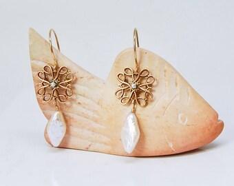 10K Gold Earrings | Seed Pearl Earrings | Vintage Avon Service Pins