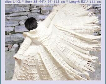 Reserved for Anastasia, ELF coat, bridal gown, gypsy wedding dress, hippie wedding dress, fairy wedding dress, size L - XL