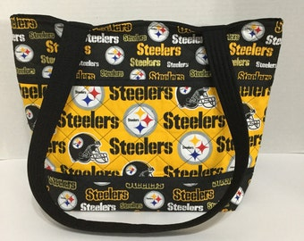 Steelers Quilted Purse - Quilted Tote - Market Bag - Shopping Bag - Shoulder Bag - NFL Tote - NHL Tote - Beach Bag - Steelers Purse