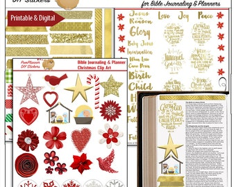 Christmas Bible Journal Kit Printable Christian Stickers for Bible Journaling or Planners. DIY Stickers.  Digital