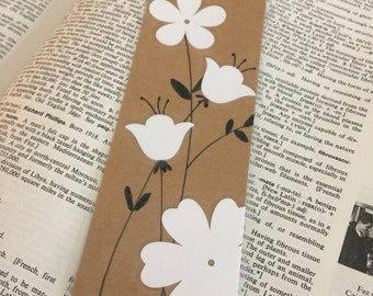 Flower Bookmark, Kraft Bookmark with White Flowers and Hand Drawn Stems, Mother's Day Gift, Lamintaed Page Marker