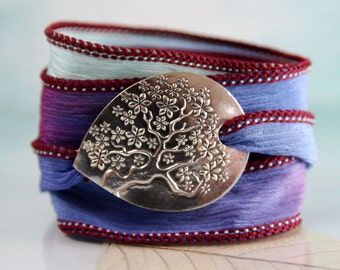 Tree-of-Life Bracelet with Handmade Silver Slide - Silk Cuff