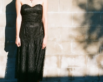 Vintage Black Lace Dress Fitted Bodice Sexy Goth 90s