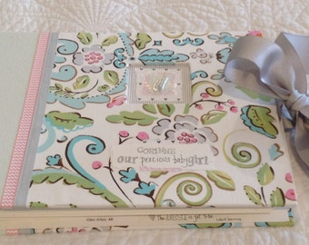 "BABY BOOK, GIRL Baby Memory Book. ""Corinne""  Sweet new baby print fabric and creamy mint green paper. Photo book, baby's monthly progress."