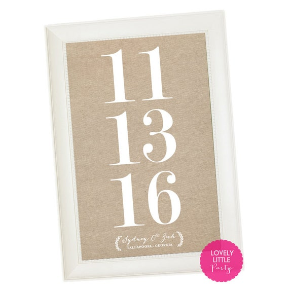 """Customized Wedding Date Art Print - 11""""x17"""" - LOVELY LITTLE PARTY"""