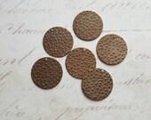 Vintaj Natural Brass {Embossed Dots Charm} 6 Pcs - P300