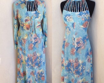 Vintage groovy baby blue floral long dress with jacket cage strappy neckline polyester sz S