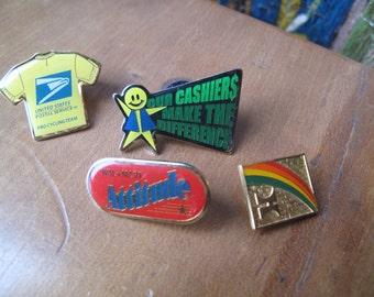 5 Vintage Lapel Pins, USPS, Wal-Mart, Hilton, United States Postal Service