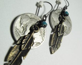Buffalo Nickel Earrings, Dangle, Feather charm, turquoise bead