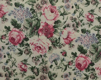 Vintage Floral Fabric, Cotton Floral Fabric Remnant, Vintage Cotton Fabric, Rose Fabric, Shabby Chic, Vintage Fabric - 1 1/2 Yard - CFL2033