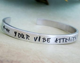 Your Vibe Attracts Your Tribe, Tribal Jewelry, Stamped Bracelet, Hand Stamped Bracelet, Bohemian Jewelry, Boho Bracelet, Hippie Jewelry