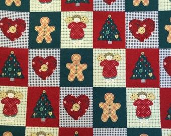 Christmas Fabric / Cotton Fabric / Folk Christmas Fabric / Country Christmas Fabric / Christmas Cheater Cloth / Christmas Quilting Fabric