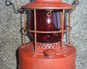 vintage Embury 500 red lantern with red globe Warsaw,NY