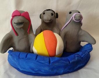 Polymer Clay - Hear No Evil Dolphins