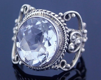 Handmade Oval Cut White Topaz // 925 Sterling Silver (US) Ring Size 8 Jewelry