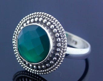 HandMade Glorious Green Onyx Ring // 925 Sterling Silver Ring Size 8.5 Jewelry - R72