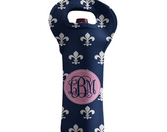 Wine Tote Bag Personalized Wine Bottle Tote - Navy Fleur deLis - Design your Own Beverage Tote