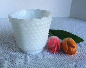 Hobnail Milk Glass Vase / Wedding Decor / Vintage Anchor Hocking