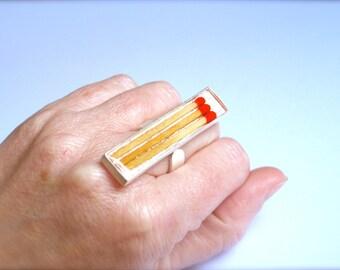 Light my fire. Matches resin ring. Matchstick. Modern jewelry. Resin jewelry. resin rings, gift for her, OOAK, geek