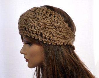 Cafe latte Hand Crocheted Headband,Crochet Ear Warmer, Handmade accessory for women,
