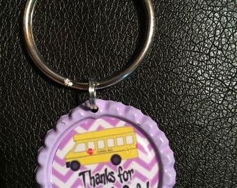 Bus Driver bottlecap key chain