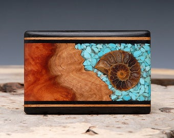 Exotic Wood, Turquoise and Ammonite Fossil Inlaid Belt Buckle - Handmade