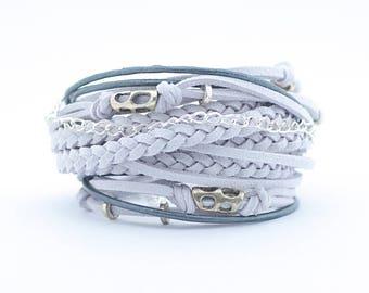 Glacier Gray Wrap Boho Bracelet, Gray Silver Gypsy Hippie Bracelet, Women bracelets, delicate jewelry, Bohemian style, gift for her