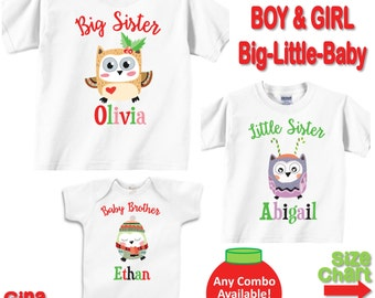 Personalized Christmas Brother Sister Owl Shirts Baby Bodysuits Big Little Baby Brother and Sister Shirts - Choose any Quantity