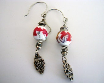 Spring Red/White Flowers Wire Dangle  Earrings
