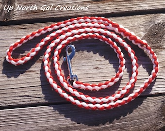 Red and White Dog Leash, Paracord Pet Lead, Round Braid Leash, Custom order Pet Supplies, Made in Michigan, New Puppy, Bug Out, Yooper
