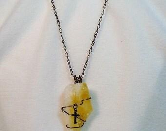 No (285) Citrine and Antique Cross Necklace