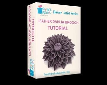 Leather flower tutorial and BONUS, leather dahlia pattern, leather flower brooch, leather flower instructions, leather flower template