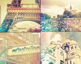 Digital file collection, Paris printable decor, travel printable wall art, vintage style Paris, Metro, shabby chic digital photos