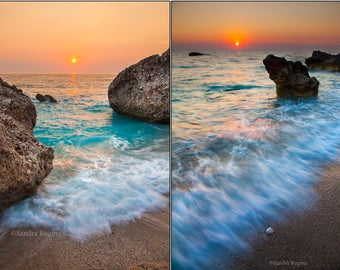 Digital files, sunset beach decor, large wall art sea and rocks sunsets in Greece, two vertical high quality photos, nautical printable art