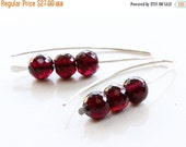 HOLIDAY SALE - Garnet Earrings, Sterling Silver, deep red gemstone, hand-forged artisan earrings, modern dangle earrings, gift for her, garn