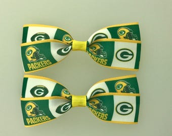 Green Bay Packers Hair Bows with Alligator Clips
