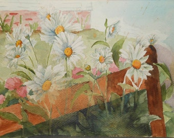 vintage watercolor of daisies and other flowers